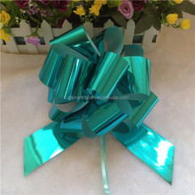 Metallic Pull Bow Green Pom Pom Bow for Gift Packaging