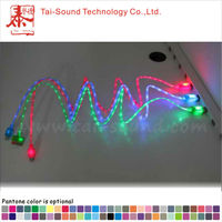 Wohlesale USB cable 5 Colors Newest Visible LED Light USB Cable for iPhone 5 5s 5c iPod Pad Sumsang HTC - USB charger