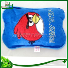 Factory hot sell high quality rechargeable hot water bag/embroidery