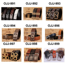 Stitched men Leather Belt Full Buckle