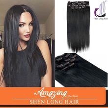 Natural straight wave clip in brazlian mink remy hair extension, high quality black Indian remy hair