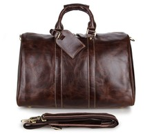 """China Wholesale Vintage Cowhide Leather Tote Bags Travel Bag 17"""" Inch Laptop Duffle Bag # 7077C"""