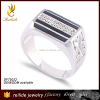 Wholesale latest DF75022 jewelry plated 925 silver jewelry manufacturer china;silver plating men ring with enamel jewelry