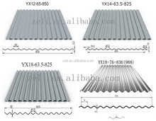 corrugated sheets for roofing price/galvanized wave metal roofing sheet YX18-76-836(988)
