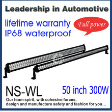 Heavy duty 50inch 52inch 300W 36000lm off road led light bar IP68 water+dust proof