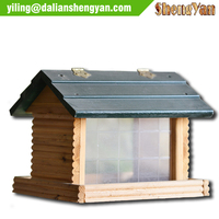 Wooden Bird House Feeder Bird Cage With Outside Feeder