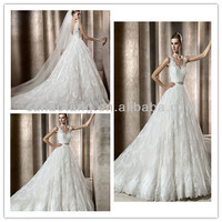 HT36 2014 Elegant lace white skirt the thick satin gown v-neck aglet A Line wedding dress