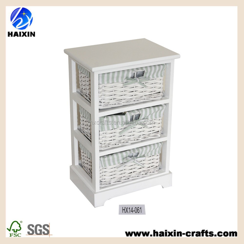 Paniers en osier blanc armoire de rangement coffret en for Meuble tiroir osier blanc