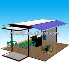 one side folded container house,prebuilt container houses,container coffee shop