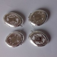 Engraved Along With The Looking Glass Copper Silvery Vintage Open Locket