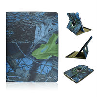 New Arrival Blue Leaves and Tree Pattern Rotation Foldable Flip Stand Leather Case For Apple iPad2 3 4 With an Elastic Belt