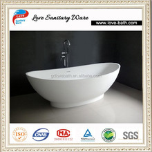 New design white cheap freestanding artificial stone bathtub in China
