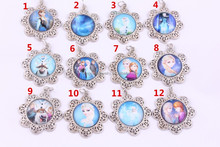 Top Quality Hotsale Glass Cabochon Cartoon Characters Pendant , Chunky Frozen Pendant for Kids Necklace Jewelry wholesale!!