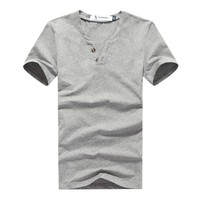 high quality China manufacturer mens fabric button blanks t shirt