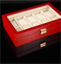 Red Diplomat Black & Cherry Wood Finish Ten Watch Storage Box Chest Display Case