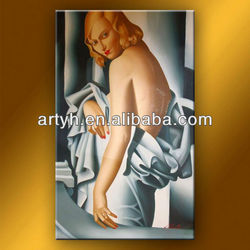 Attractive girl with half-nude portrait canvas oil painting for hot sale