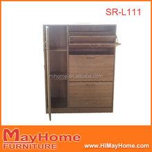2015 hot sale Walnut color wooden shoe cabinet door shoe rack