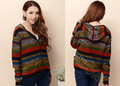 de lana para mujer chaqueta suéter cuello v rayas multicolores cardigan suéter con capucha knitswear de fábrica