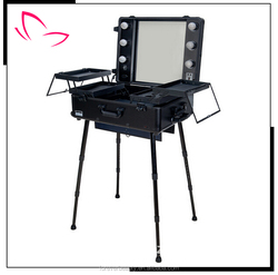 Hot sale professional rolling aluminum makeup case with legs with lights