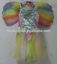 Leading China Factory S-6XL plus size2015 new Fairy Kids Girl princess Halloween Party Costume Dress Wings Set 2-8Yearinstyles f