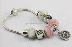 Love pink glass beads bracelets with pendant charm, glass bead friendship bracelets