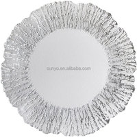 Silver customized size leadfree crystal popular model high quality ice design special unique charger plate