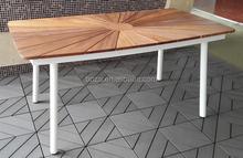 Garden aluminum rectangular table, knockdown outdoor teakwood table