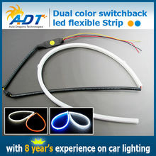New products Dual color swithchback led Strip flexible DRL emitting white headlight drl yellow turning