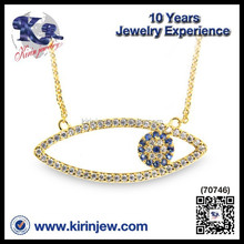 Wholesale 925 sterling silver jewelry gold plate blue eye necklace