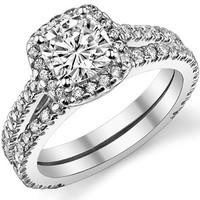 WRSS05 Split Shank Amazon Hot Selling Imitation Diamond AAA Zirconia Silver Female Wholesale Ring Sets