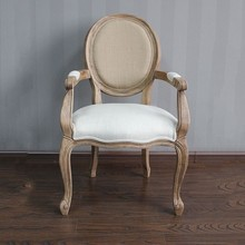 French style oak arm chair / wood louis armchair