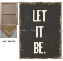"Vintage canvas art painting , "" LET IT BE "" wall art"