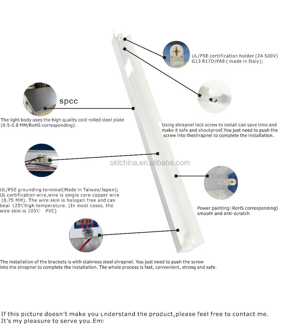 248ft Ul Cul High Quality T8t10 Fluorescent Light 1tube Lighting Fixture Wiring Installation 1
