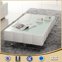 2014 living home furniture glass top white painting coffee table