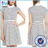 2015 Yihao clothing new design White & Black Strip Summer White & Black Summer Beach latest fashion ladies Dress