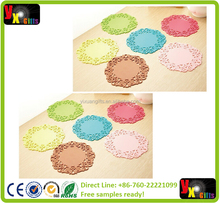 Homeware Candy Color Hollow Sweet White Lace PVC Coasters Lovely Silicone Bowl Pad Flower Cup Pad Heat Insulation