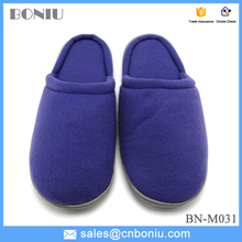 high quality purple color polar fleece slippers for man with rubber outsole