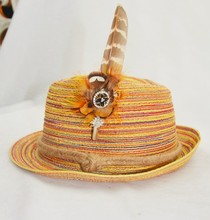 natural pheasant feather hatband pin or metal feather brooch