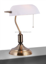 Free Shipping European Vintage The Banker Table Lamps With Pull Chain Switch White Color Glass Lampshade