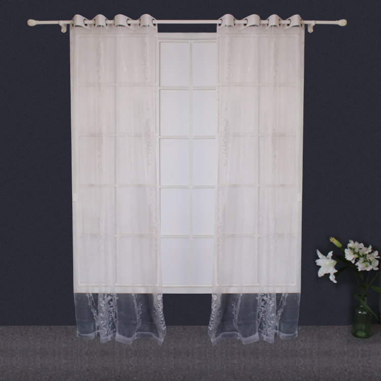 Poliestere bianco Sheer Voile Burnout Tenda Commercio All'ingrosso Tenda Ready Made