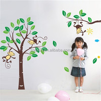zooyoo1206PVC removable home decor cartoon large tree monkey wall paper children wall decal