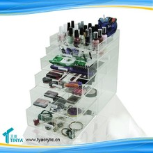 Hot Sale Custom 5 Drawer Makeup Organizer Vanity Jewelry Display Stand Wholesale Clear Acrylic Cosmetics Organizer Storage Box