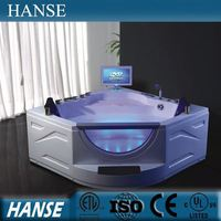 HS-B286A acrylic resin hotel massage triangle shaped bathtub for fat people
