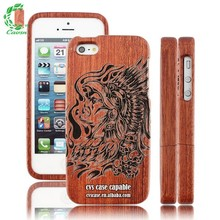 Real Wood Case With Engraved Design For Iphone5 , Classical Pattern Wood Case