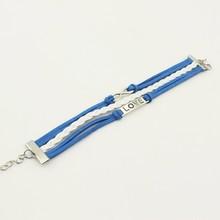 Leather Bracelet, Fashion Love 8 Charm Braided Jewelry PU Stingray Leather Bracelet, Bracelet Jewelry Wholesale Multi Row PT2159