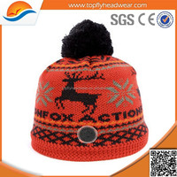 Winter Pom Pom Beanie Hats Wholesale/Custom Knit Acrylic Beanie