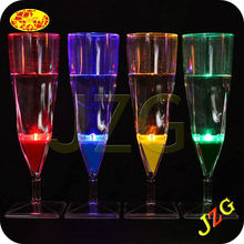 Factory wholesale champagne glasses party decoration flashing led light water actived glow in the dark plastic champagne cup