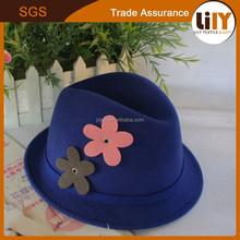 fashion vintage children floppy wide brim felt hat