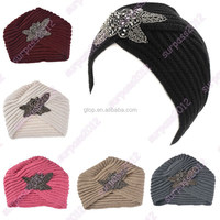 jewel beaded flower knitted knit headband hair hat head wrap JH-013