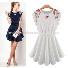 """Instyles women <span class=""""wholesale_product""""></span> Summer korean casual dress designs 2014 's Round Collar Lace Shoulder S"""